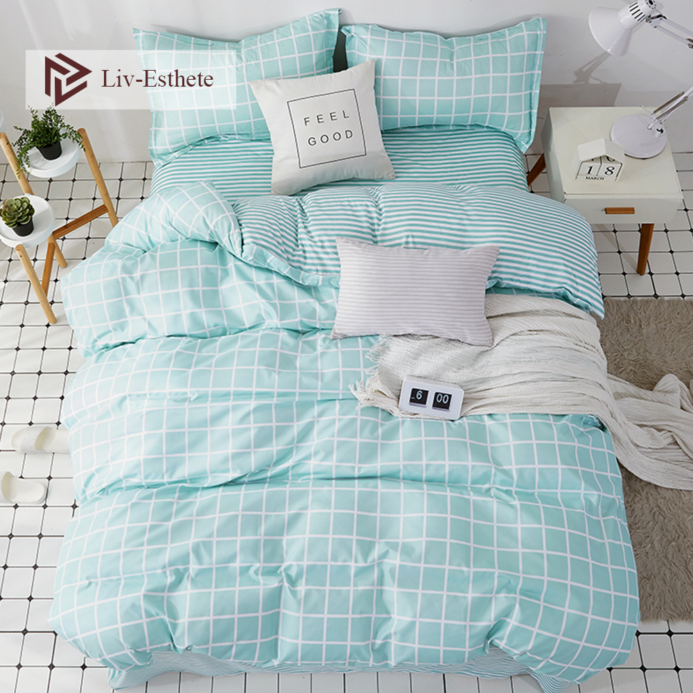 Liv-Esthete Fashion Classic Grid Blue Bedding Set Double Queen King Bed Linen Soft Duvet Cover Pillowcase Flat Sheet For Adult