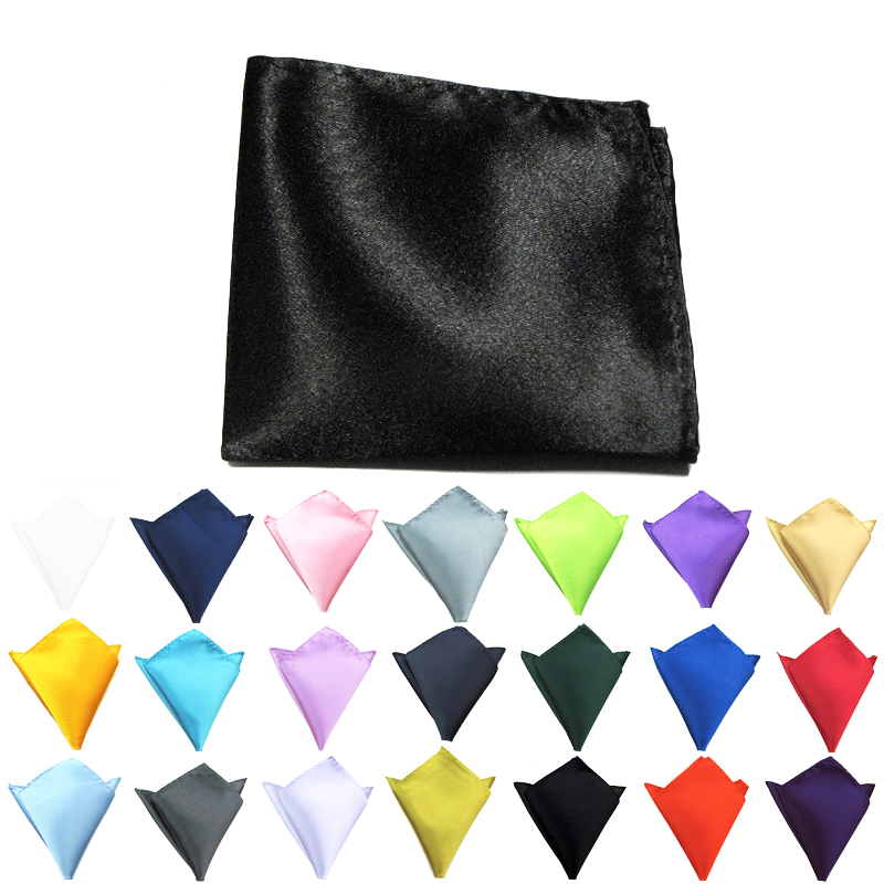 22 Cm High Quality Polyester Smooth Silk Touch Basic Style Solid Color Tuxedo Men Pocket Square Handkerchief