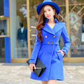 Dabuwawa azul manga larga simple de gran tamaño abrigo de lana