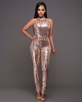 2018 vrouwen mouwloze coltrui jumpsuit Party Clubwear Bodycon Rompertjes backless gold sequin jumpsuits elegante overalls
