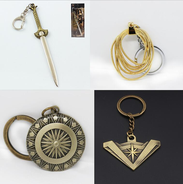 Diana Weapon Pendant Keychain Set Shield Sword Lasso Crown 4 PCS Keychain Set Superhero Halloween Cos Accessory