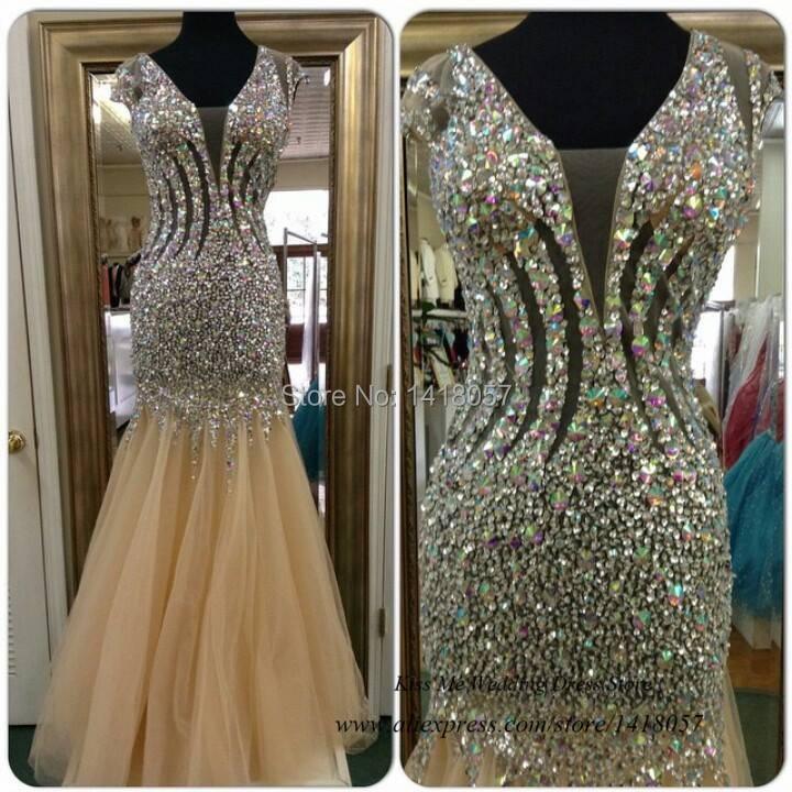 Abendkleider Crystal 2015 Bling Champagne Backless Mermaid Prom Dress Women Long Evening Gowns Formal Dresses Vestido Formatura