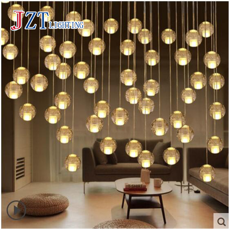 T Modern Simple Creative Crystal Ball Pendant Light Meteor shower Loft Lamps For Stairway Balcony Corridor Restaurant DHL Free