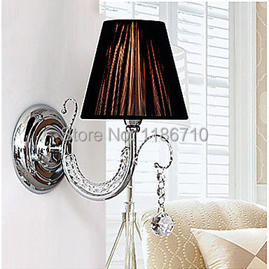 Contemporary Wall Light with Fabric Shade Style Arm crystal wall lamp Contains the LED bulbs Free shipping