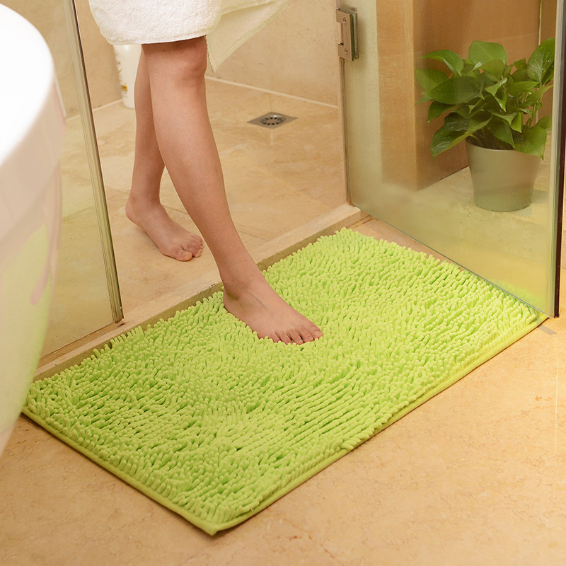 Kitchen Bath Bathroom Shower Floor Door Cotton Chenille Rug Anti-Slip Oval 50x80