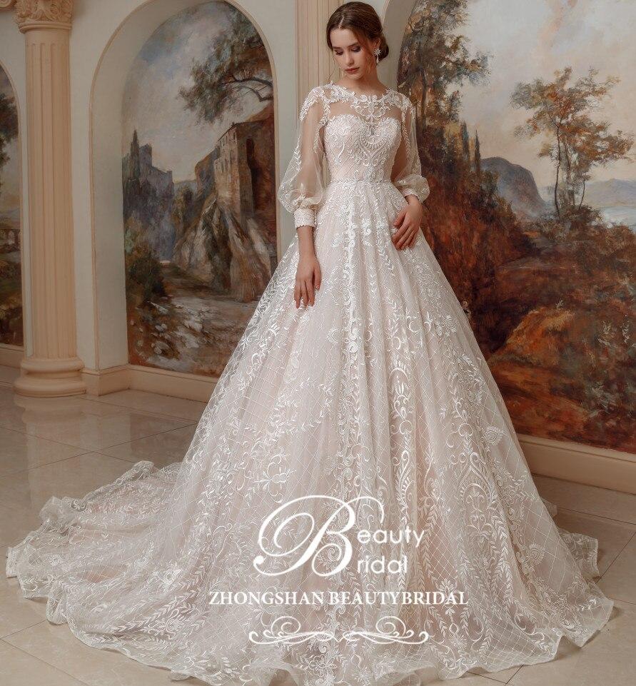 Robe de mariée 2019 luxe princesse Long train et dentelle Vintage avec lanterne manches vestidos de noiva robe de mariage SP001