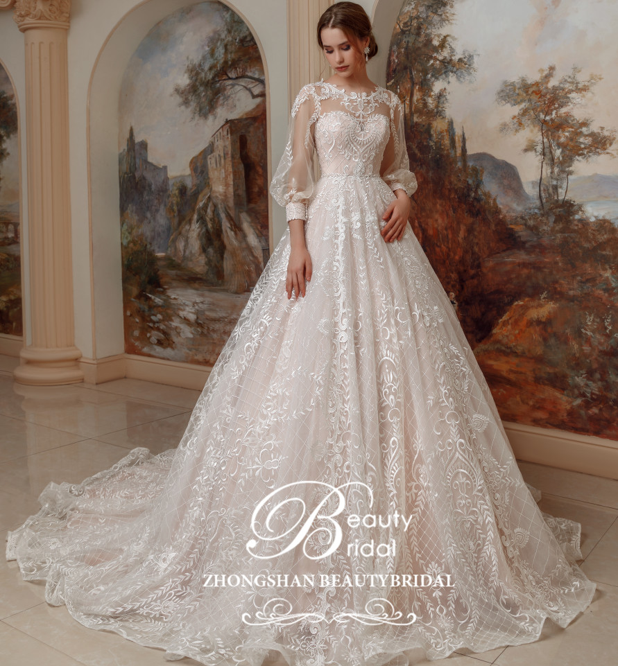 Vestido de noiva 2019 Luxo Princesa Long train e renda com manga lanterna Do Vintage vestidos de noiva robe de mariage SP001