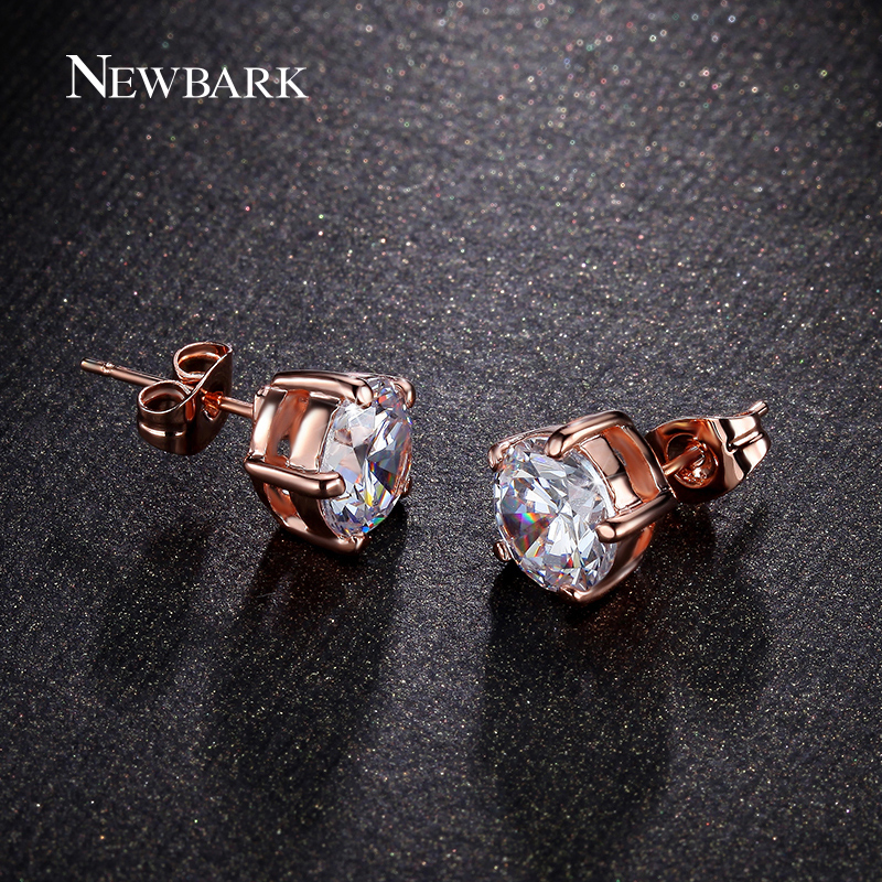 Newbark 5 Prong Round Cubic Zirconia Stud Earrings Silver Color Rose Gold  Color 8mm Earring for Gilrs Gift bijoux femme-in Stud Earrings from Jewelry  . 90f4f4d65127