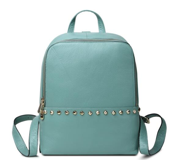 Classic genuine leather women casual backpack with stud high quality