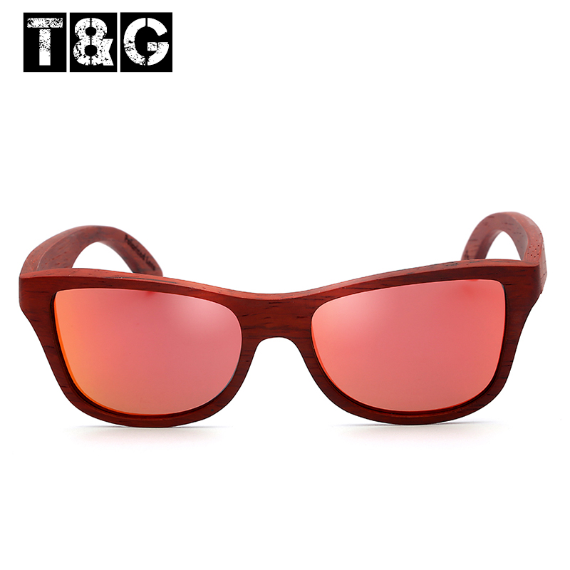 TG Polarized Square Red Rosewood Wooden Sunglasses100% UV400 Unisex Red Lens Retro   Sun Glasses For Driving