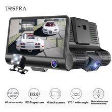 TOSPRA Auto DVR 2/3 Telecamere Lens 4 Pollici del Precipitare Della Macchina Fotografica Auto Registrator Dvr Dash Cam Dual Lens Con vista Posteriore video Registratore della macchina fotografica