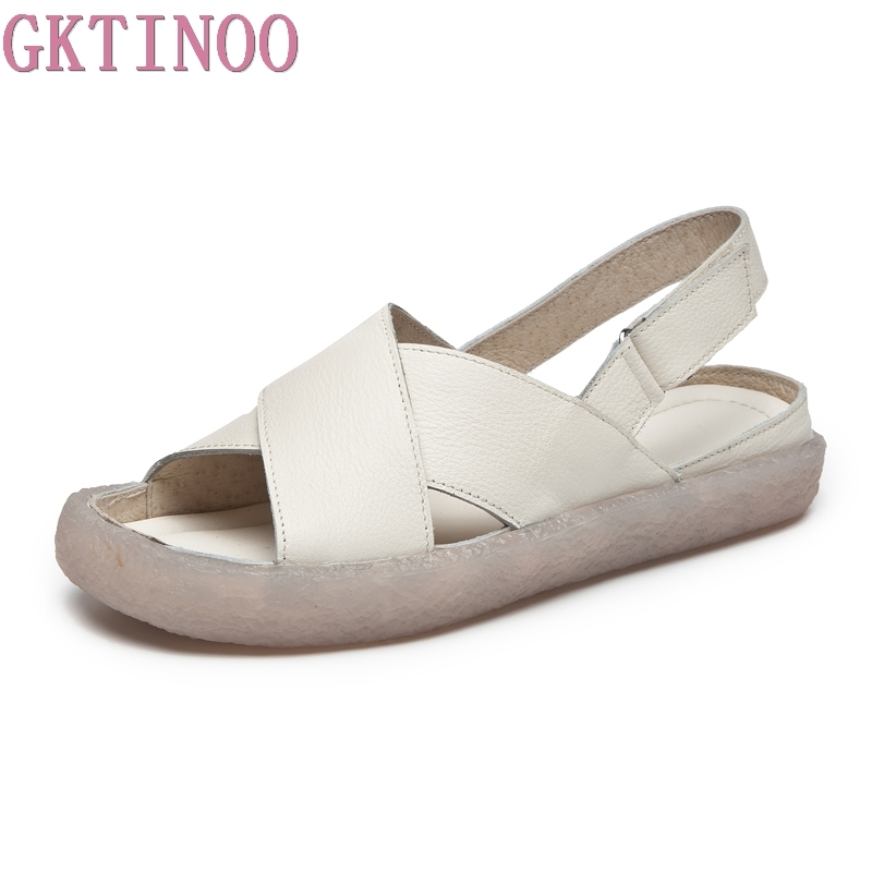 GKTINOO summer sandals women shoes genuine leather thick heel platform sandals for women handmade retro women