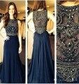 Larga Azul Marino Vestido de Fiesta 2017 con Rebordear Cristalino de Lujo de Gasa Ocasiones Especiales Vestidos de Fiesta de Noche de Lujo Del Vestido de Robe Soiree