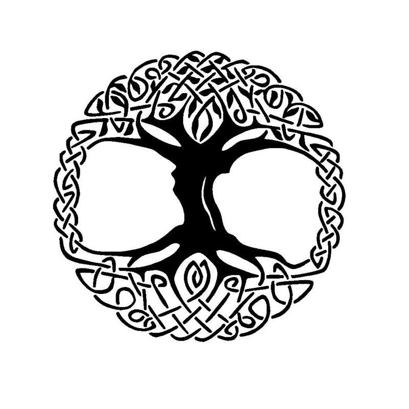 12.7*12.7CM Lush Tree Of Life Bumper Sticker Stylish Motorcycle Vinyl Decals Black/Silver C7-1097