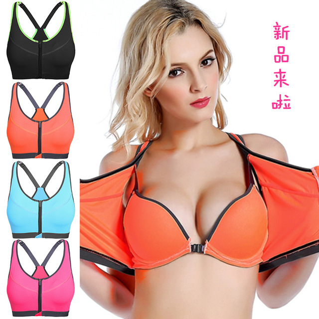 75c84d72e36c6 Front Zipper Closure Adjusted-straps Yoga Tank Top Push Up Padded Brassiere  Women Sports Bra Running Gym Fitness Halter Crop Top
