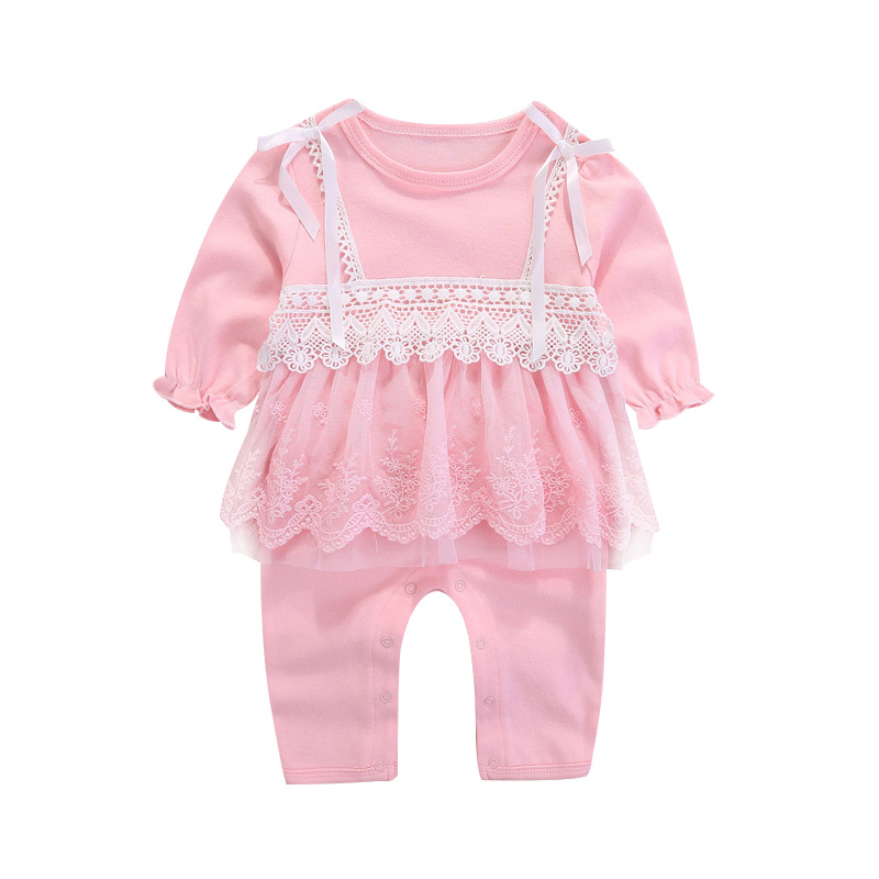 Cotton Pricess Baby Romper Lace Cute Newborn Jumpsuit For Girls Long Sleeve O- Neck Baby Girls Romper Photography Props Spring