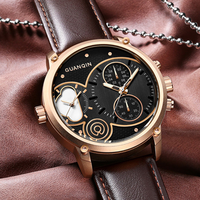 New GUANQIN Brand Luxury Men Watches Chronograph Millisecond Waterproof Leather Wristwatch Male Quartz Sports Men Luminous Watch