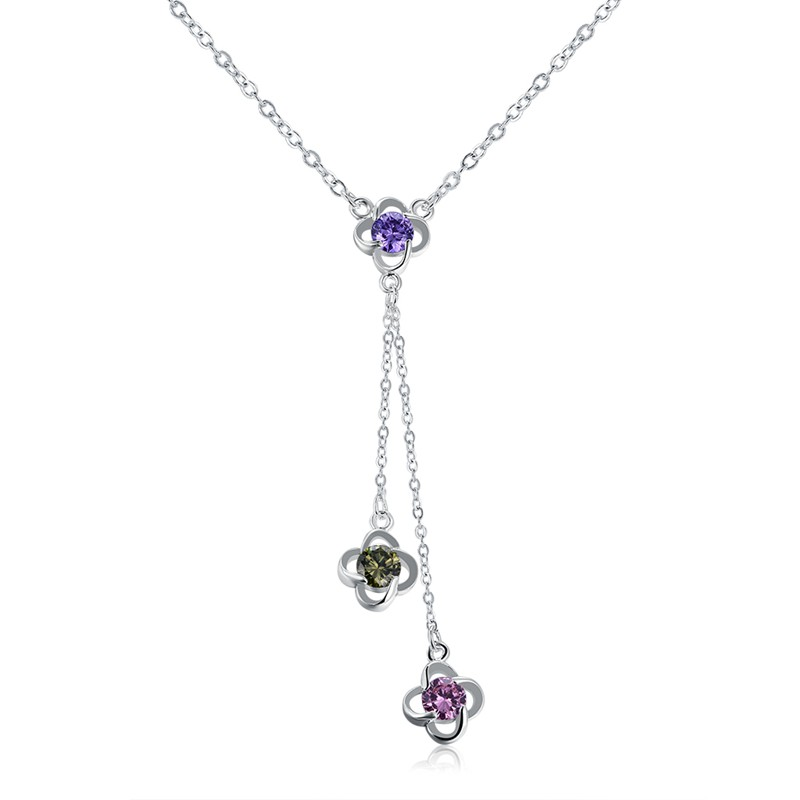 JEXXI Romantic Colors Crystal Flower Pendant Tassel Design Silver Color Link Chain for W ...