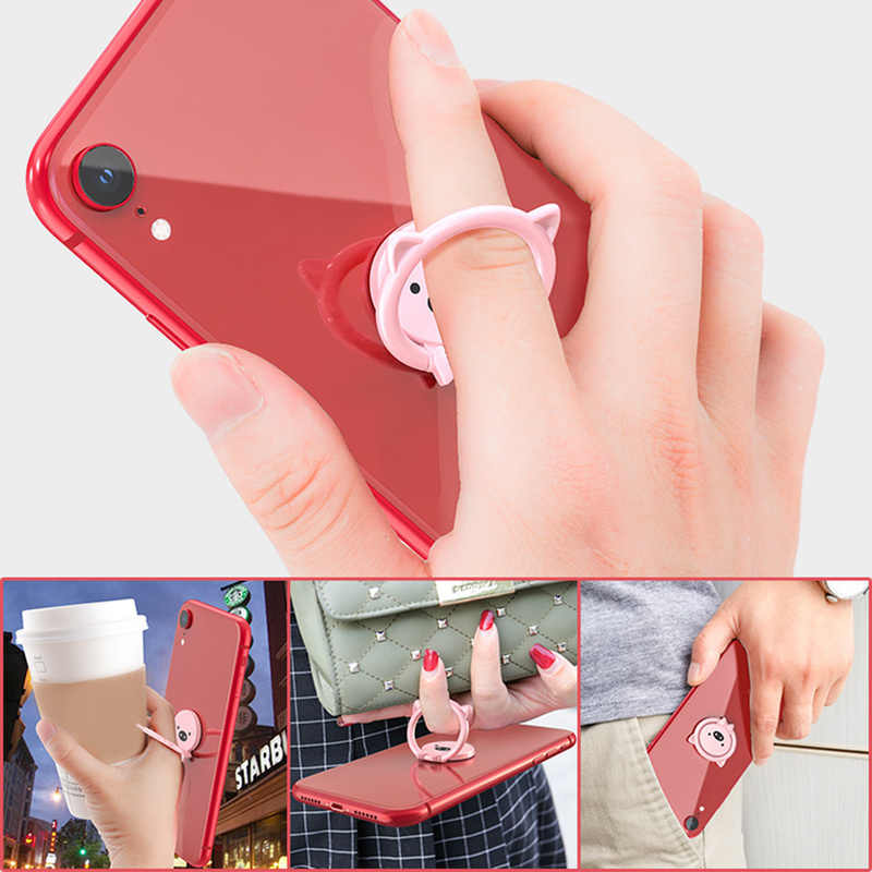 New Plating Doitmy Pig Magnetic Ring Bracket Universal Car Cute Pig Mobile Phone Bracket Stand for iPhone X/8/7 Phone Holder