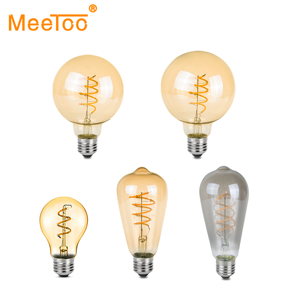 Vintage Led Edison Filament Bulb Golden A60 St64 T45g80 G95 Edison Bulb Led Vintage Type Soft Led Filament 4w Dimmable E27 Amber Products Hot Sale Led Bulbs & Tubes