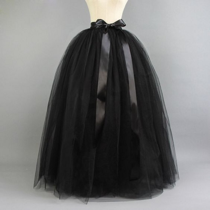 Black Ball Gown Tutu Skirt Floor Length Long Maxi Skirt Custom Made Puffy Tulle Skirt With Lining And Ribbons