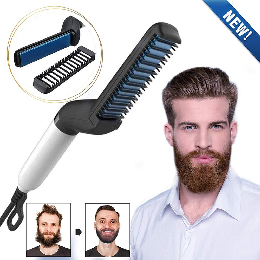 Quick Beard Straightener Brush For Men Multifunctional Styler Styling Accessories Comb Mini Electric Hair Curlers Show Cap Tools