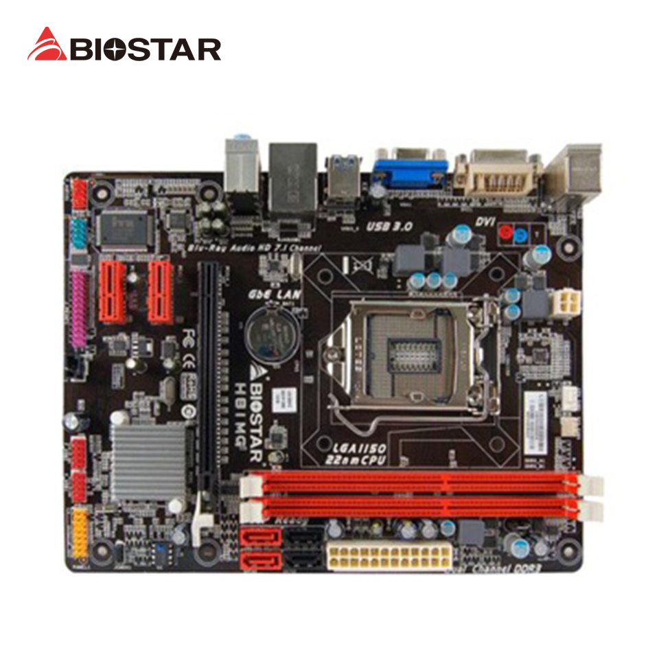 BIOSTAR H81MG Original Used Desktop Motherboard H81 LGA 1150 i7 i5 i3 DDR3 16G SATA3 USB3.0 Micro ATX biostar h110mds2 pro d4 1151 h110 motherboard support g4560 i3 7100 micro atx desktop computer motherboard solid state capacitor