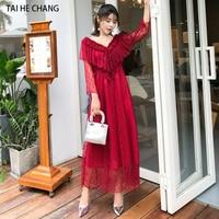 women fashion designer autumn elegant slim bodycon vintage formal party runway red v neck sexy mesh lace long maxi dress