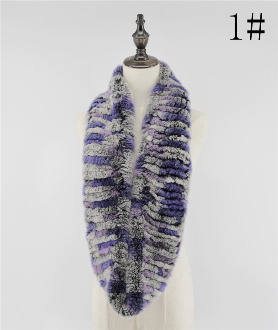 Genuine Rex Rabbit Fur Hand Knitted Circle Long Infinity Scarfs Scarves Wraps Neck Warmer
