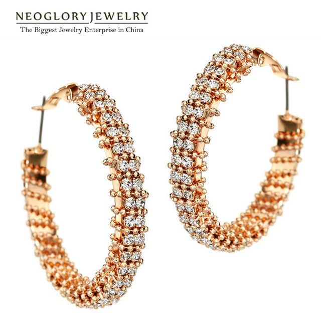 Neoglory Czech Rhinestone Rose Gold Plated Charm Round Hoop Earrings for Women Fashion Elegant Jewelry  2017 New GO