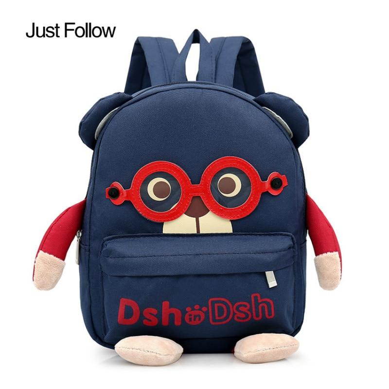 2018 New Baby Lovely Glasses Bear Backpack Kindergarten Children Cartoon Bags