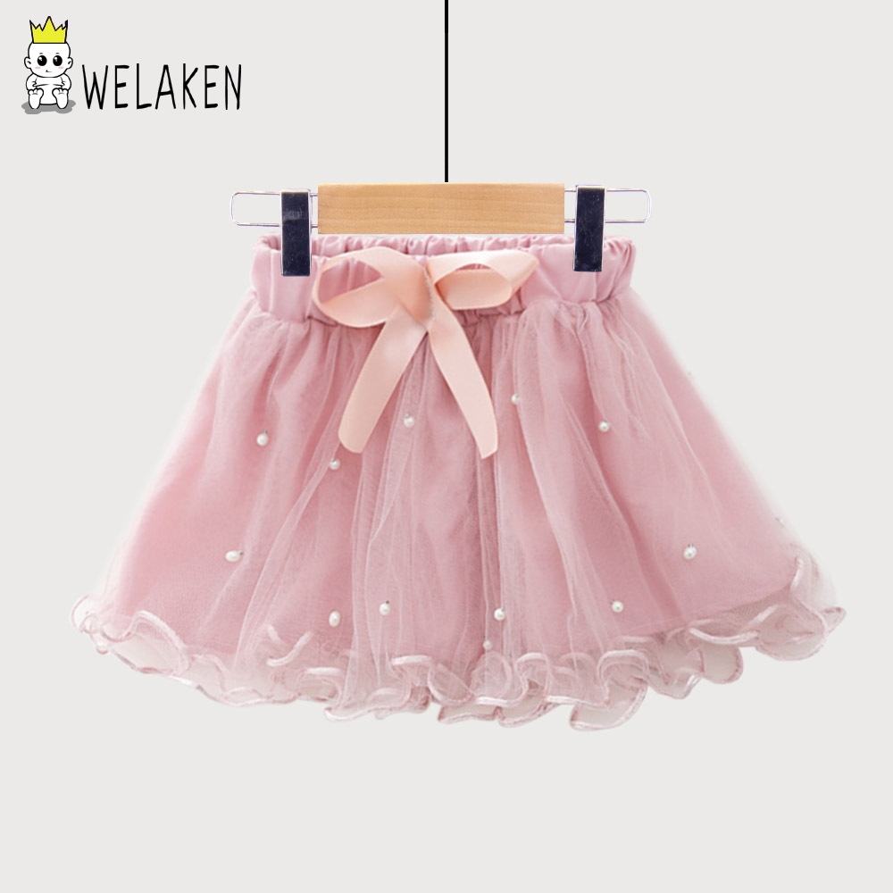 weLaken Baby Girls Skirts Princess Tutu Skirts Dance Party Performance Mini Skirt 2018 New Cute Bow Pearl Kids Girl Skirts navy cute high waisted leather mini skirt
