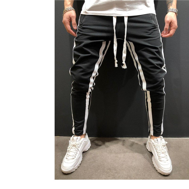 Pants  Brand New Mens Skinny Slim Fit Bottom Stripe Casual 1