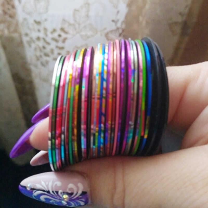 30 шт, смешанные цвета, красочные рулоны полосатые наклейки Фольга советы ленты линия типа сделай себе сам дизайн наклейки для ногтей инструменты для украшения ногтей