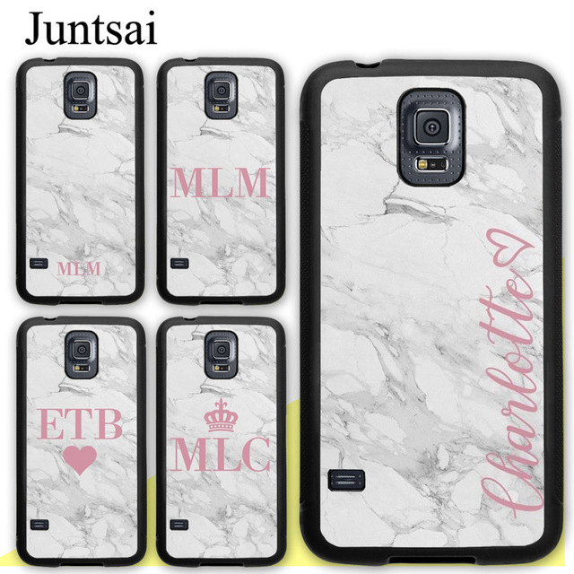 6adb2b7ebf Juntsai Personalised initial Name Custom Marble Case For Samsung Galaxy S5  S6 S7 edge S8 S9