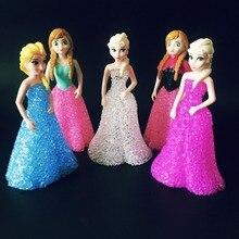 Hot Sale Cartoon Crystal Led Night Light Elsa/Anna Toys Doll RGB Flash Table Lamps Christmas Holiday Birthday Girls Gifts
