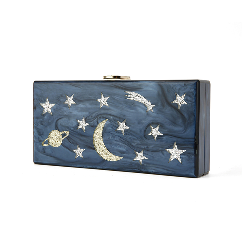 Dark Blue Pearl Moon And Star Striped Landscape Acrylic Clutch Box Bags Women Wallet Evening Messenger Acrylic Bags Dropshipping