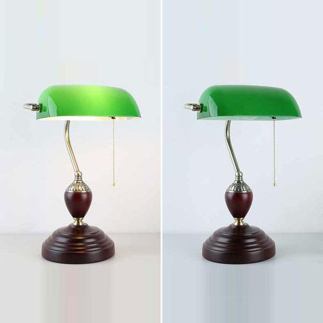 Lampe de Banque Vert Émeraude ou Blanc Nacre