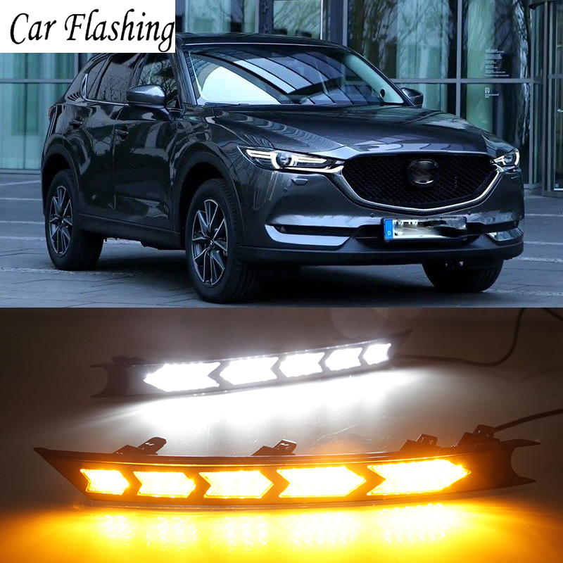 Car Flashing Led Daytime Running Lights For Mazda Cx 5 Cx5 2017 Drl Fog Lamp 12v Abs Driving With Turn Signals