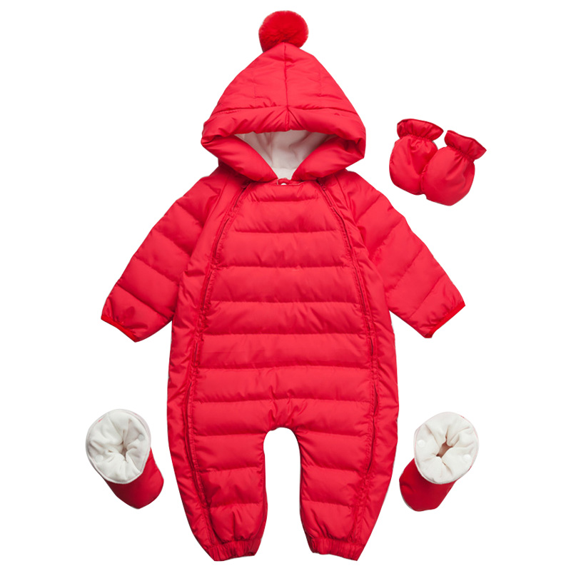 Winter warm baby rompers Children down jacket boys girls Hooded overalls Snowsuit toddler Jumpsuit newborn clothing fashion baby jumpsuit winter rompers hooded children winter jumpsuit duck down baby girl rompers infant boy snowsuit overalls