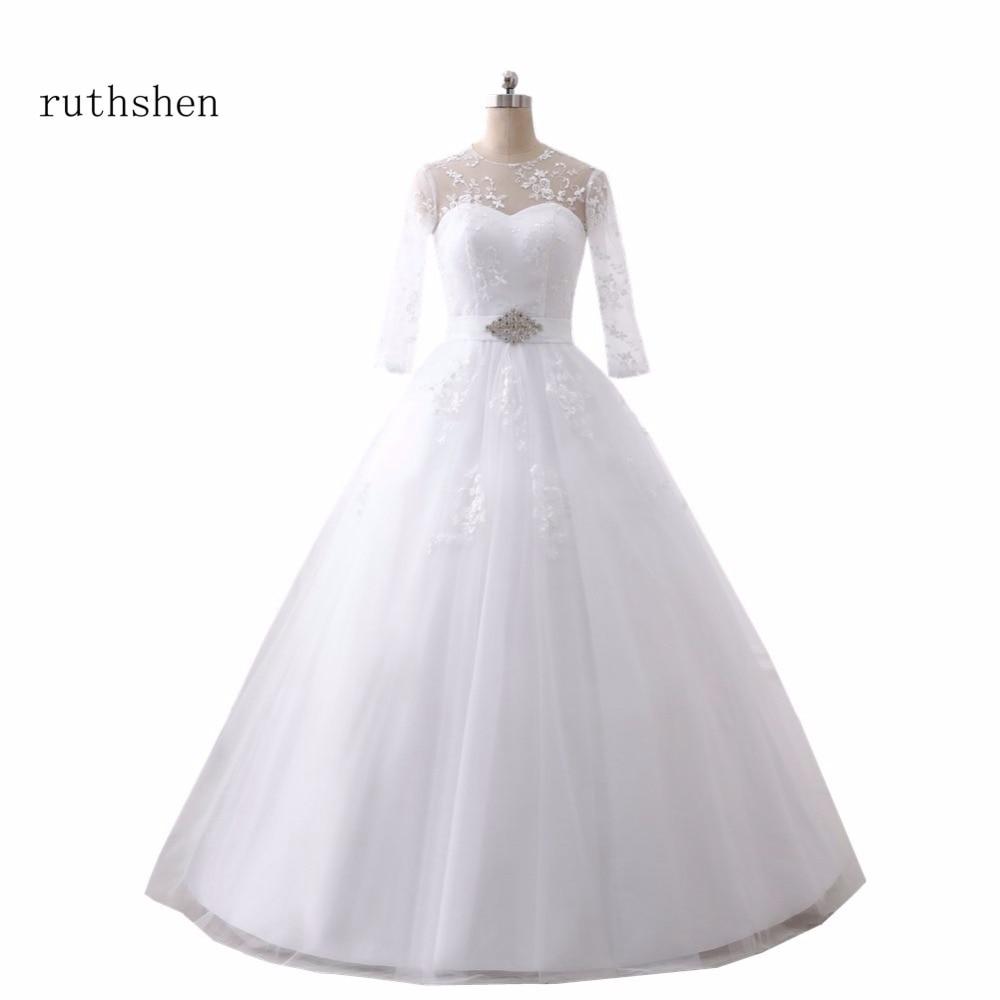 ruthshen Ball Gown Wedding Dresses Cheap 3 4 Sleeves Lace Tulle Vestidos De Novia Vintage 2018