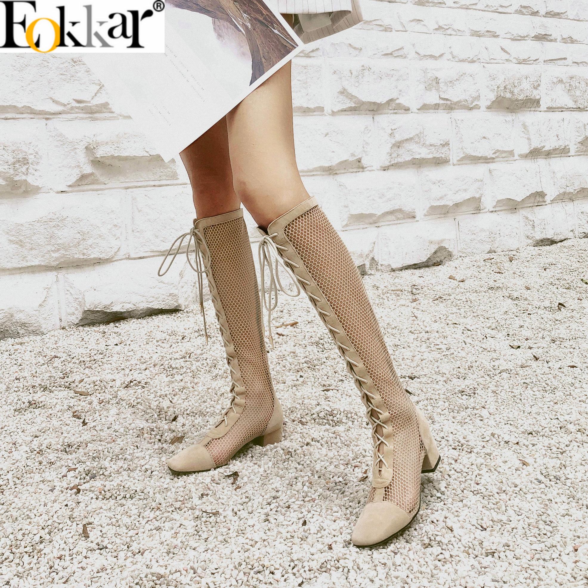 Eokkar 2020 หนังนิ่ม Hallow สตรีเข่าสูงรองเท้าบูทสแควร์ Toe ส้นรองเท้าฤดูใบไม้ผลิซิป Elegant Lace Up Boots ขนาด 34 40-ใน รองเท้าบู๊ทสูงระดับเข่า จาก รองเท้า บน   1