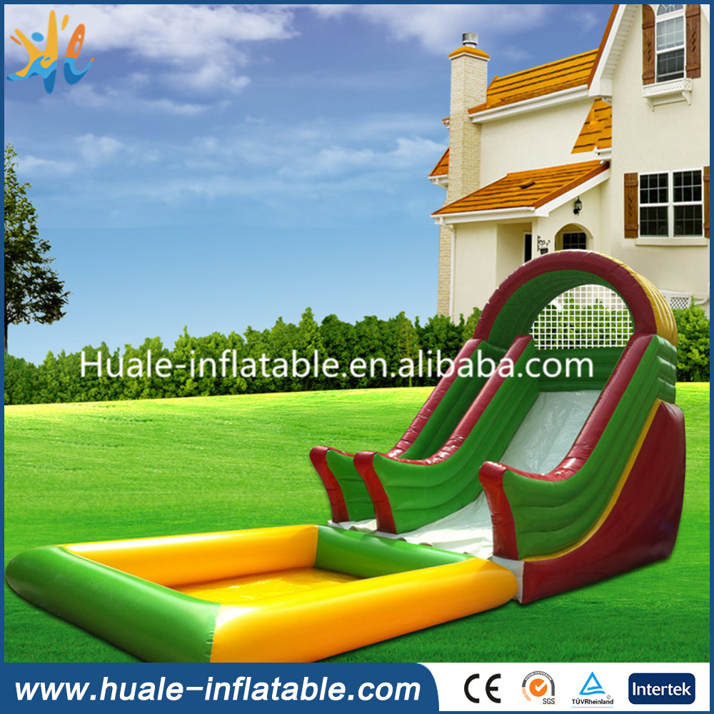 Happy Water Park Plato Pvc Outdoor Inflatable Water Slide With Swimming Pool For Fun In