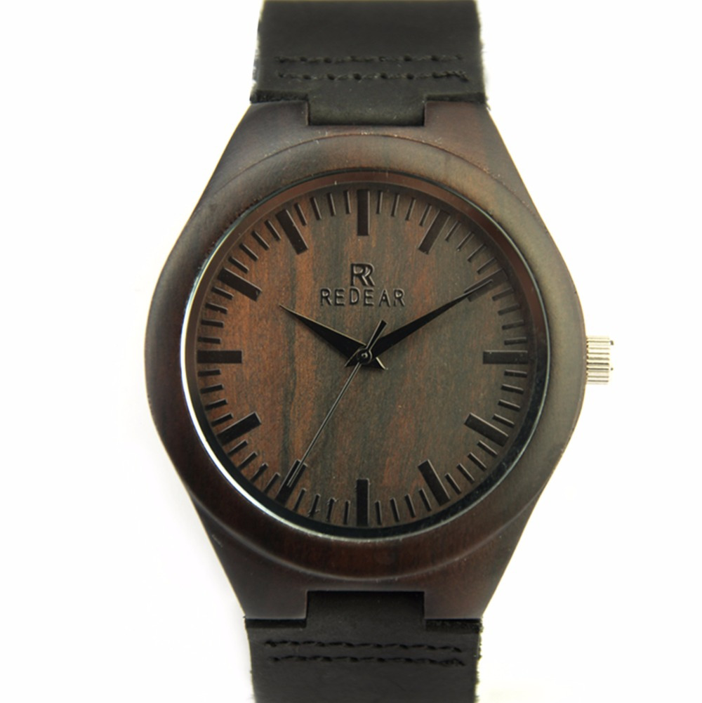 ФОТО Newest Men Wooden Watches Natural Black Sanwalwood Watch Primary Color Wood Case Wrist Watches with Japan Quartz Movement