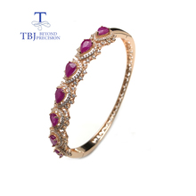 TBJ,Noble elegant 925 rose silver with natural ruby gemstone Timeless style gemstone bangle for woman wedding anniversary gift tbj natural ruby gemstone simple