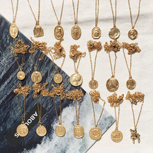 2019 Gold Color Round Coin Necklaces & Pendants For Women Simple Portrait Dollar Charm Necklace Dainty Layering Gifts Chocker