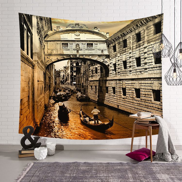 Image 2 - CAMMITEVER Greece Blue White Town European Culture Holiday Tapestries Beautiful Scenery Hippie Wall Hanging Tapestry Home Decor-in Tapestry from Home & Garden