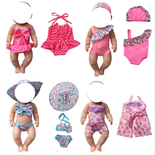 "Summer set For 18"" girl Doll Bikini + Cap summer Swimming Suit With Hat also fit for 43cm baby doll Clothes"