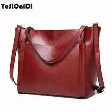 YASICAIDI Fashion Women Leather Handbags Large Capacity Tote Bag Black Oil Leather Shoulder Bag Crossbody Bags For Women Bolsas