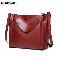 YASICAIDI Fashion Women Leather Handbags Large Capacity Tote Bag Oil Wax Leather Shoulder Bag Crossbody Bags